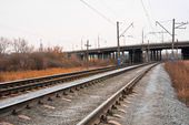 Railway tracks and bridge — Stock Photo