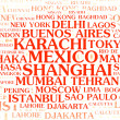Stock Photo: The most populated cities – word cloud