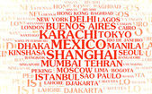 The most populated cities – word cloud — Stock Photo