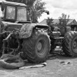 Stock Photo: Old tractors in black and white tones