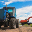 Stock Photo: Old tractor and excavator