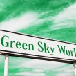 Green sky world road sign — Stock Photo #5141687