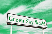 Green sky world road sign — Stock Photo