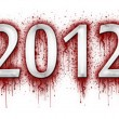 Number 2012 in splatter of blood — Stock Photo