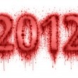 Number 2012 by splatter of blood — Stock Photo