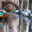 Venice canals and boats — Stock Photo