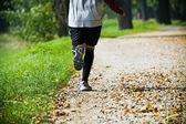 Running in summer park — Stock Photo