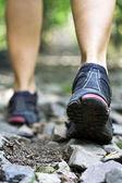 Trail walking in mountains — Stock Photo