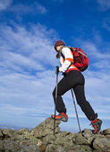Hiking in mountains — Stock Photo