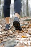 Wandelen in de herfst bos, wandelen benen — Stockfoto