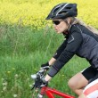 Riding on mountain bike in summer nature — Stock Photo #5228013