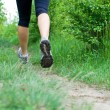 Stock Photo: Woman cross country running on trail