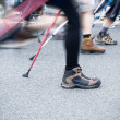 On nordic walking race in city — Stock Photo