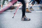 On nordic walking race in city — 图库照片