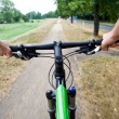 Riding a bike in summer park — Stock Photo