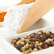 Spices: salt mix of different peppers balls and chili powder — ストック写真