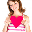Cute holding valentine heart — Stockfoto