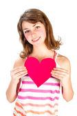 Roztomilý, drží valentýnské srdce — Stock fotografie