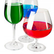 Colored liquid in glasses — Stock Photo #4808776