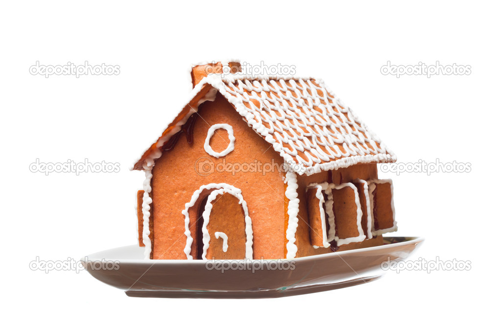 Isolated christmas gingernut house on vessel — Stock Photo #4709204