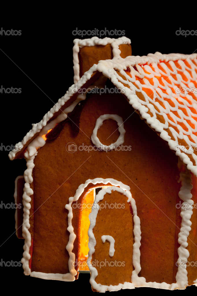 Isolated christmas gingernut house, view from side  Stock Photo #4709226