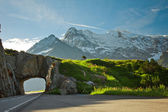 Road tunnel and mountains — Stock Photo