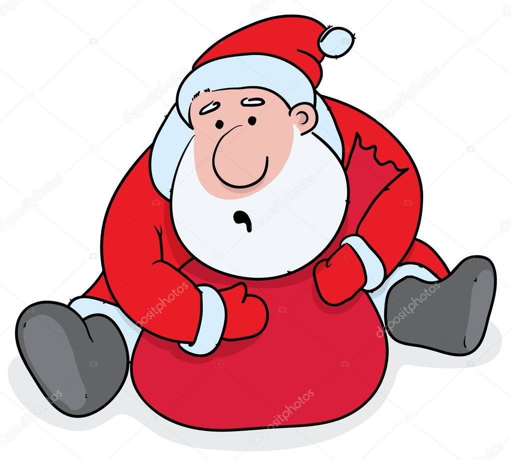 Greedy Santa sitting and strongly holding his sack with the gifts — Stock Vector #4420791