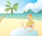 Bir plajda kız — Stok Vektör