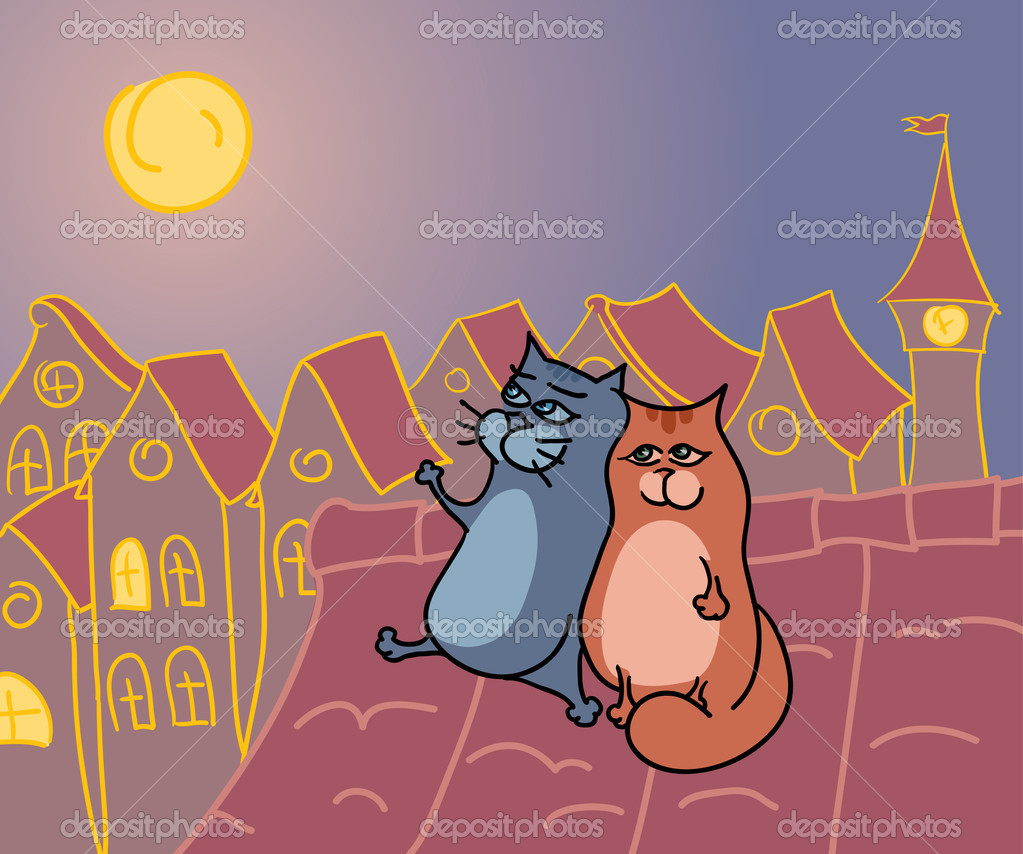 Romantic cats rendezvous on a roof at the night  Stock Vector #4845578