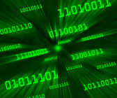 Green tilted bytes of binary code flying through a vortex — Stock Photo