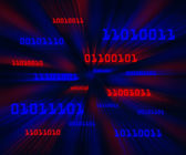 Red and blue bytes of binary code flying through a vortex — Stock Photo