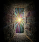 Mystical stone window or portal to a pastel vortex — Stock Photo