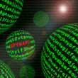 Stock Photo: Spyware among spheres of machine code