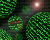 Spyware among spheres of machine code — Stock Photo