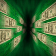Stock Photo: 100 bills flying through green vortex, with walls of binary c