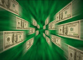 100 bills flying through a green vortex — Stock Photo