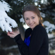 Winter portrait of a pretty young girl. — Stock Photo