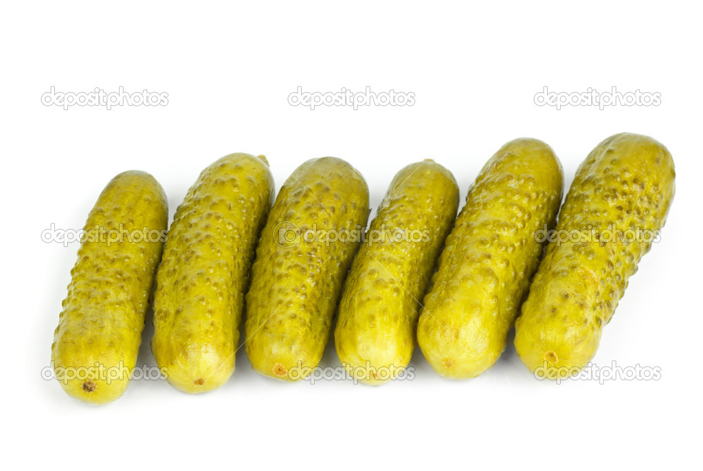 Six marinated  gherkins  isolated on the white background  Stock Photo #5374140