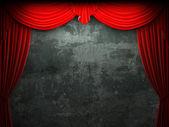 Cena de abertura da cortina de veludo vermelho — Fotografia Stock