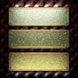 Stock Photo: Golden plate on leather