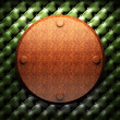 Red wood plate on leather — Stock Photo