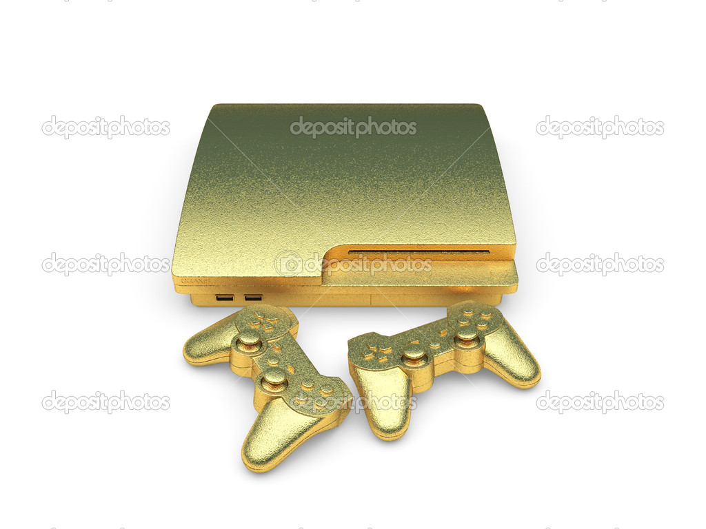 Isolated golden console made in 3d graphics  Stock Photo #4105134