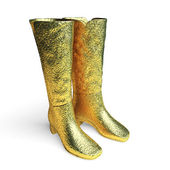 Isolated golden Female high boots — Stock Photo