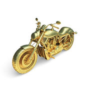 Isolated golden motorcycle — Stock Photo