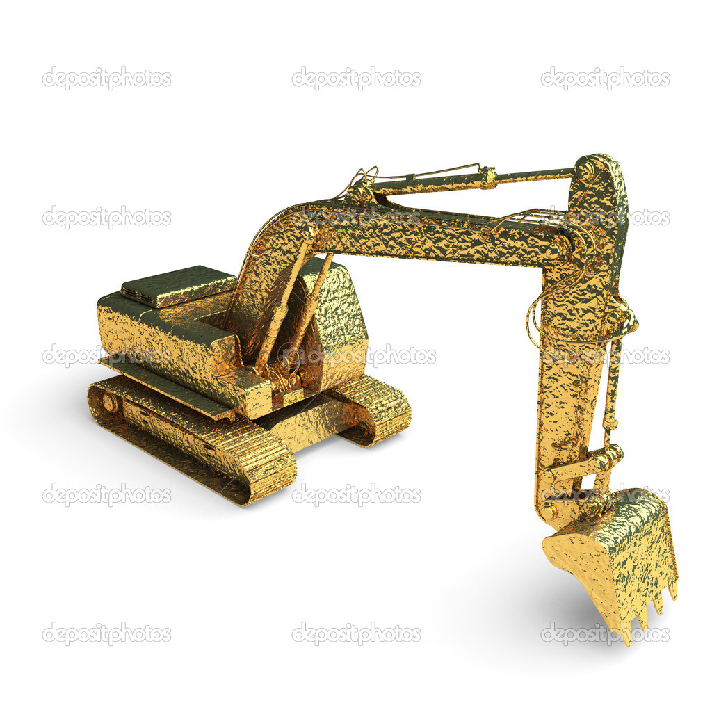 Isolated golden excavator made in 3d graphics — Stock Photo #4165228