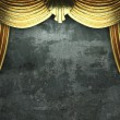Golden velvet curtain opening scene - Stock Photo
