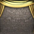 Golden velvet curtain opening scene — Stock Photo #4210108