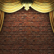 Golden velvet curtain opening scene — Stock Photo