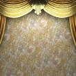 Golden velvet curtain opening scene — Stock Photo #4210135
