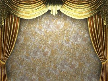 Gold velvet curtains